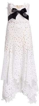 Oscar de la Renta Women's Strapless Sweetheart High-Low Lace Gown - White - Size 4