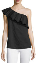 Theory Damarill Lawn One-Shoulder Ruffled Top