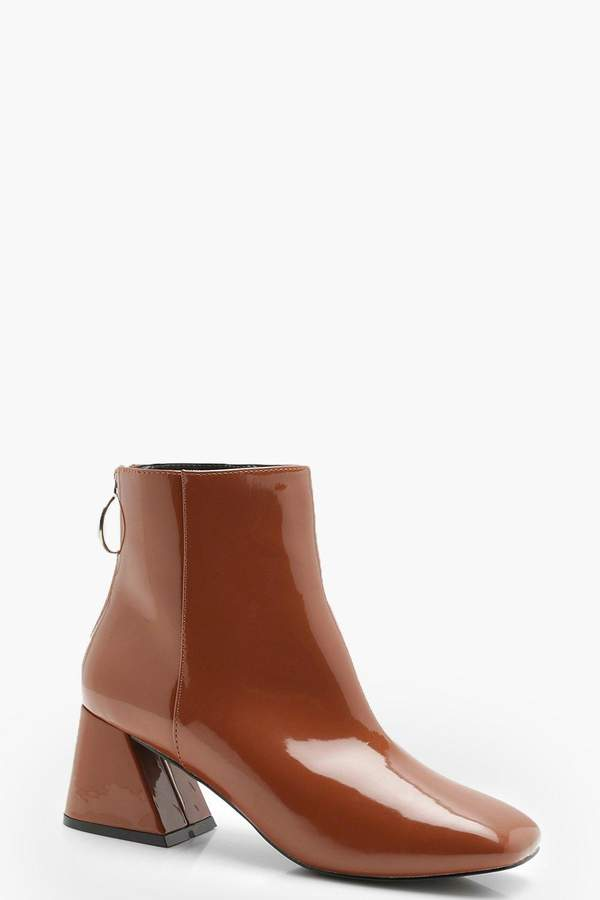 af17da80a31 Patent Low Flare Block Heel Shoe Boots