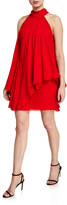 Halston Mock-Neck Short Halter Dress