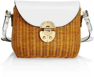 Miu Miu Midollino Rattan & Leather Shoulder Bag