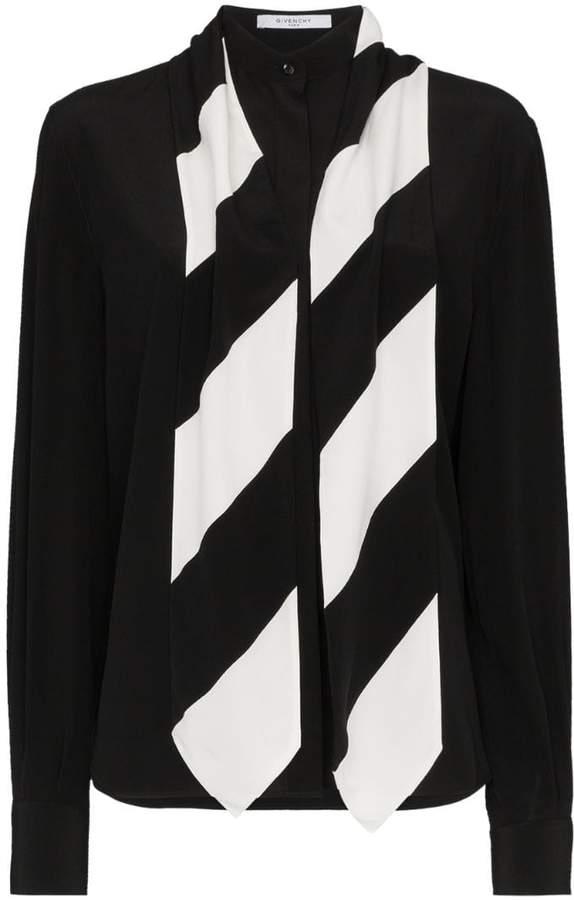 Givenchy silk stripe tie neck shirt