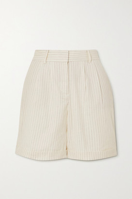 Frame Pinstriped Linen-blend Shorts - White