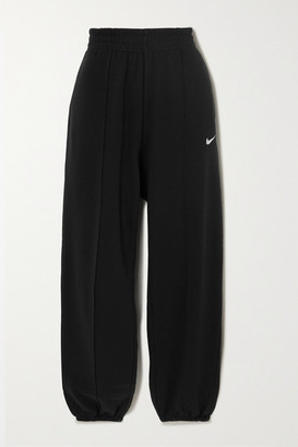 Nike Embroidered Cotton-blend Fleece Track Pants - Black