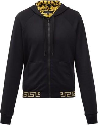 Versace Baroque-lined Zip-up Hooded Sweatshirt - Black Multi