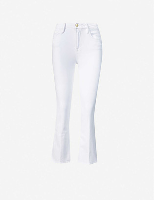 Frame Ladies White Cotton Le Crop Mini Boot Flared Mid-Rise Jeans, Size: 23