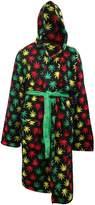 Underboss Rasta Themed Ganja Leaf Cozy Hooded Robe for men (2XL/3XL)