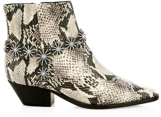 Schutz Natiely Snake-Embossed Leather Booties