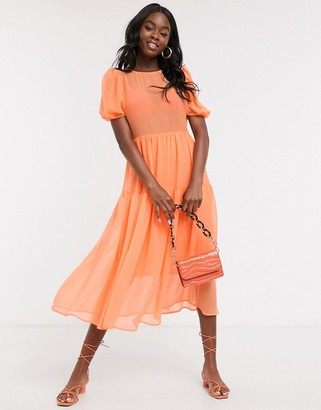 NEVER FULLY DRESSED puff sleeve sheer tiered trapeze maxi dress in neon orange