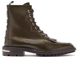 Toga Virilis Fringed Studded Leather Boots - Green