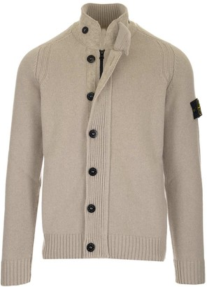 Stone Island High-Neck Knitted Cardigan
