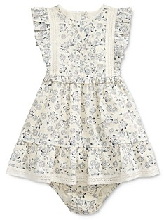 Ralph Lauren Girls' Cotton Ruffled Floral Print Fit-and-Flare Dress & Bloomers Set - Baby