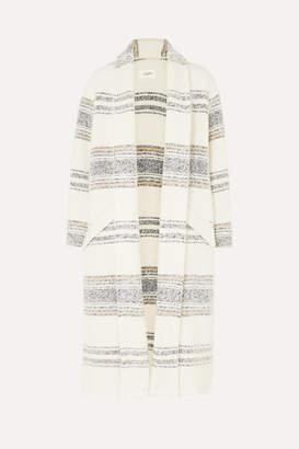 Etoile Isabel Marant Faby Oversized Striped Felt Coat - Ecru