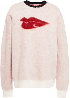 Bella Freud Brushed Jacquard-knit Mohair-blend Sweater
