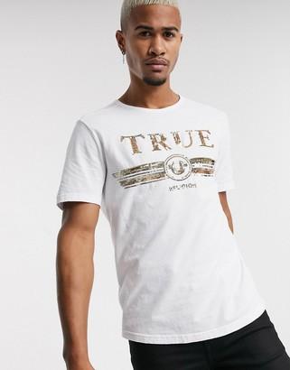 True Religion sequin logo t-shirt in white