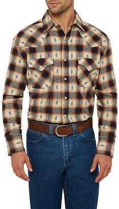 Ely Cattleman Mens Long Sleeve Aztec Dobby Flannel Western Shirt