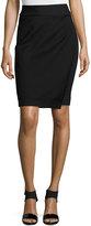 Neiman Marcus Faux-Wrap Ponte Skirt, Black