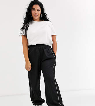 Daisy Street Plus relaxed cuffed joggers with diamante trim-Black