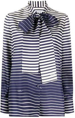 Valentino Striped Pussy-Bow Blouse