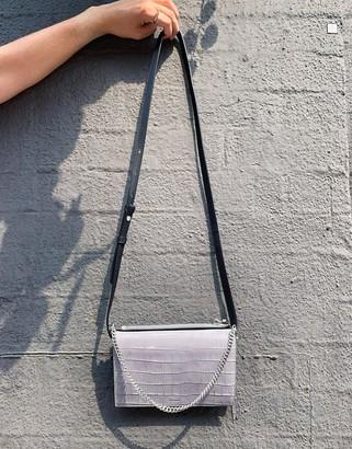 AllSaints claremnt chain strap leather cross body bag in mist grey