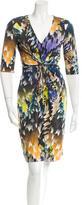 Matthew Williamson Feather Print Silk Dress