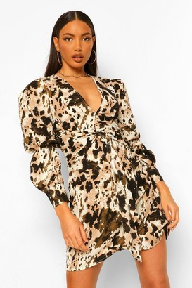 boohoo Tall Woven Marble Print Puff Sleeve Mini Dress