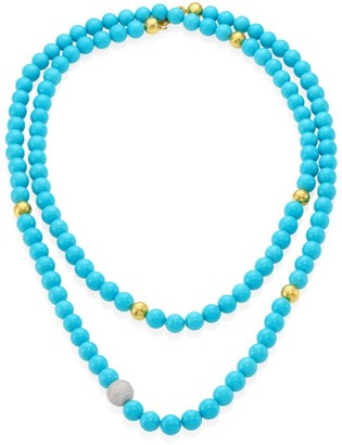 Gurhan Amulet Hue Diamond, Turquoise & 22-24K Yellow Gold Strand Necklace/50""