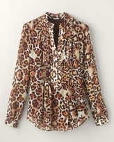 Coldwater Creek Leopard tucked blouse