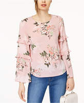Maison Jules Tiered Ruffle-Sleeve Top, Created for Macy's