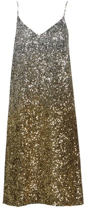 Dries Van Noten Ombre Sequin Silk Slip Dress