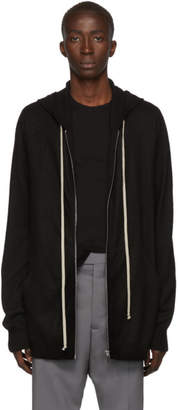 Rick Owens Black Cashmere Zipped Hoodie