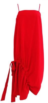 Salient Label Kai Side Drawstring Midi Dress In Scarlet