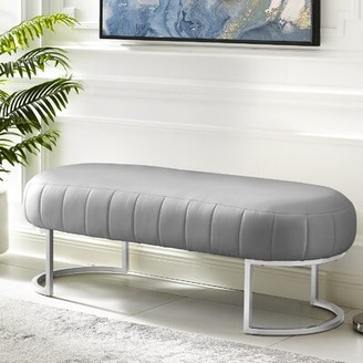 Nicole Miller Kase Leather Bench Upholstery: Gray, Color: Silver