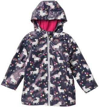 Pink Platinum Unicorn Rainbow Printed Rain Jacket (Toddler Girls)