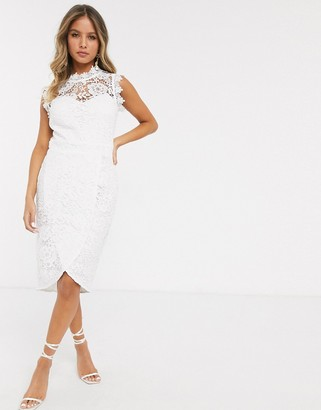 Paper Dolls lace wrap midi pencil dress in white