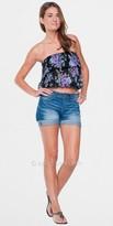 Elan International Floral Ruffle Strapless Top