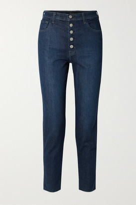J Brand Heather Cropped High-rise Straight-leg Jeans - Dark denim