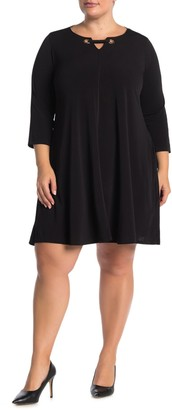 Nina Leonard 3/4 Sleeve Trapeze Dress (Plus Size)