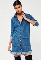 Missguided Blue Frayed Hem Denim Shirt Dress