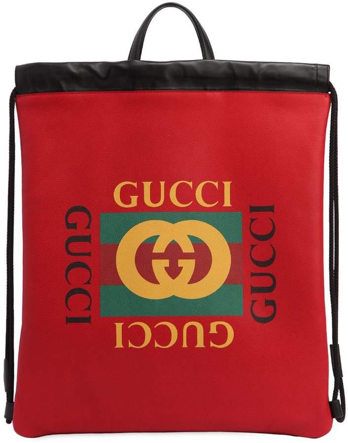 Gucci 1980's Print Drawstring Backpack