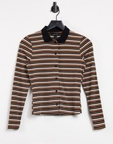 Thumbnail for your product : New Look button through collar detail t-shirt in brown stripe