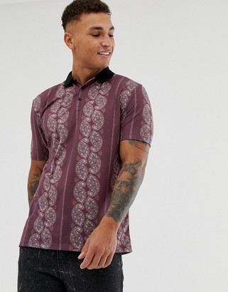 Asos Design DESIGN relaxed polo with all over paisley print and contrast collar-Purple