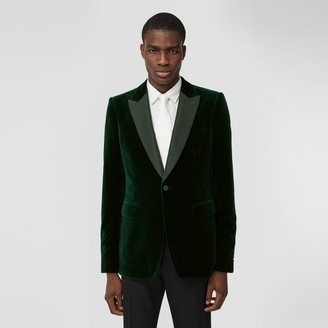 Burberry English Fit Silk Trim Velvet Tailored Jacket