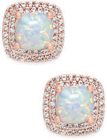 Macy's Lab-Created Opal (3/4 ct. t.w.) and White Sapphire (1/3 ct. t.w.) Square Stud Earrings in 14k Rose Gold-Plated Sterling Silver