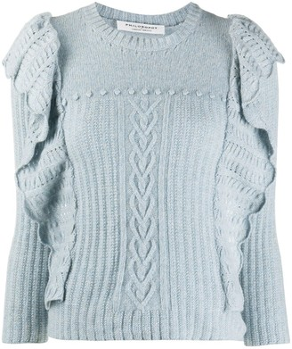 Philosophy di Lorenzo Serafini Ruffle Cable-Knit Sweater