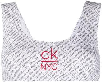 Calvin Klein Diagonal Logo Bikini Top
