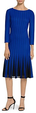 St. John Perforated Knit Bateau Neck Fit and Flare Dress