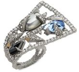 Alexis Bittar Shell Pearl, Swarovski Crystal, Indian Blue Sapphire & 10K White Gold Mosaic Lace Fan Ring