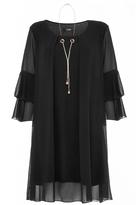 Quiz Black Frill Sleeve Necklace Tunic Dress