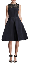 Oscar de la Renta Illusion Neck Pleat A Line Dress